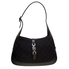 Gucci Black GG Canvas and Leather Small Jackie Shoulder Bag