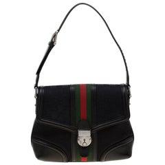 GuccI Black GG Canvas and Leather Treasure Shoulder Bag