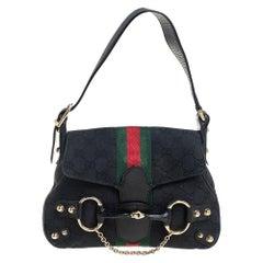 Gucci Black GG Canvas and Leather Vintage Horsebit Shoulder Bag