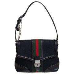 Gucci Black GG Canvas and Leather Web Treasure Shoulder Bag