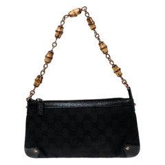 Gucci Black GG Canvas Bamboo Accessories Pochette Bag