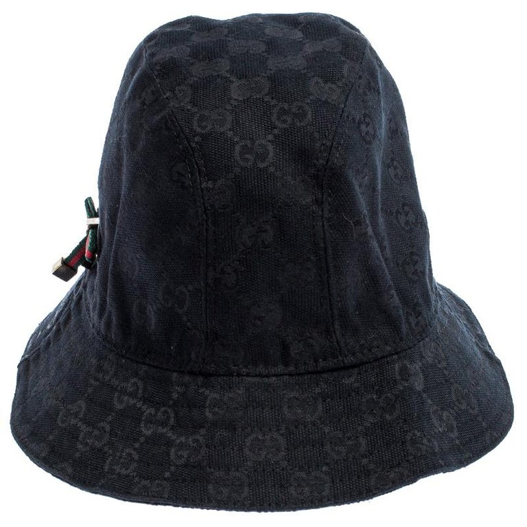 Women's Gucci Black GG Canvas Bow Bucket Hat For Sale