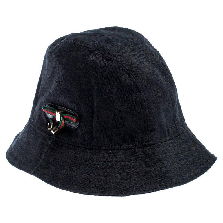 Gucci Black GG Canvas Bow Bucket Hat For Sale