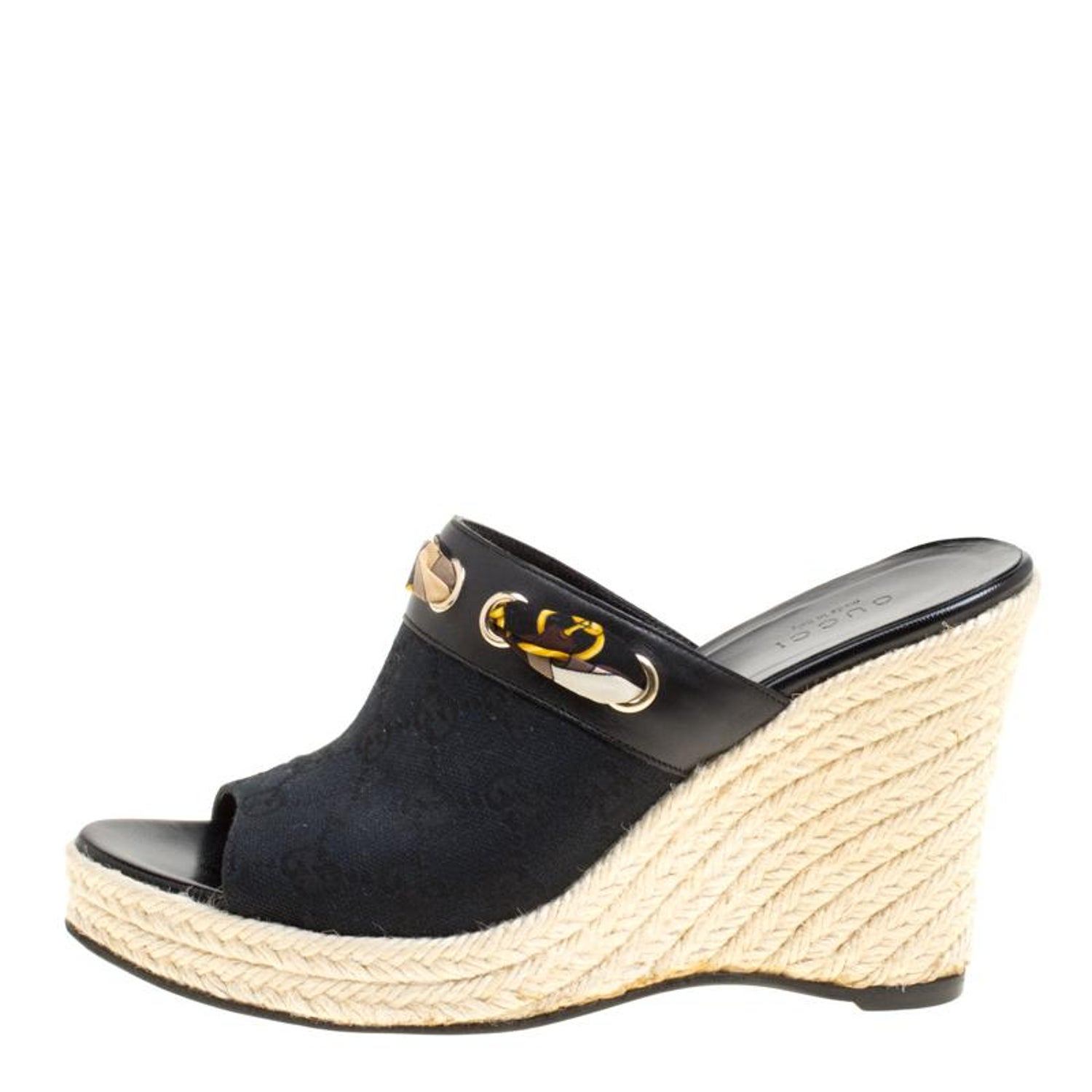 d87746cba Gucci Black GG Canvas Espadrille Wedge Peep Toe Slides Size 37 For Sale at  1stdibs