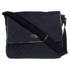 Gucci Black GG Canvas Flap Messenger Bag