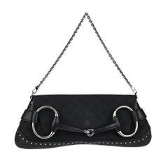 GUCCI Black GG Canvas Horsebit Chain Large Clutch Bag