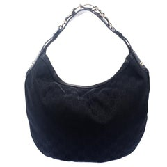 Gucci Black GG Canvas Medium Wave Hobo