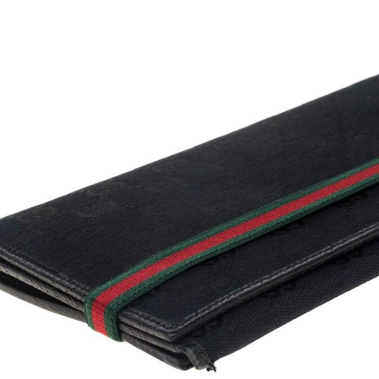Gucci Black GG Canvas Web Stripe Clutch For Sale 6
