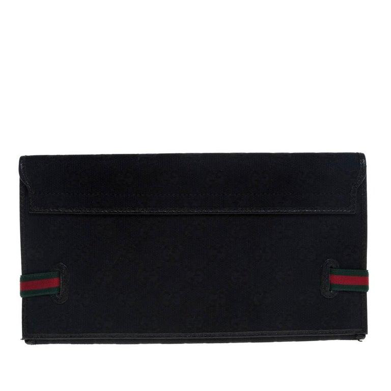 Gucci Black GG Canvas Web Stripe Clutch For Sale 1