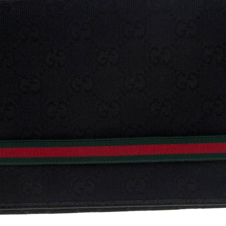 Gucci Black GG Canvas Web Stripe Clutch For Sale 3
