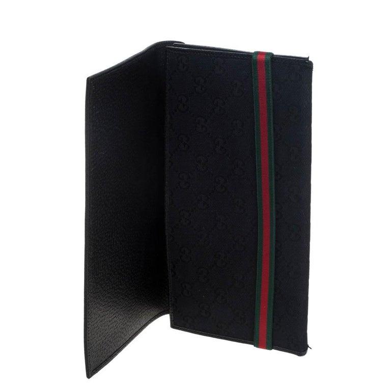 Gucci Black GG Canvas Web Stripe Clutch For Sale 4