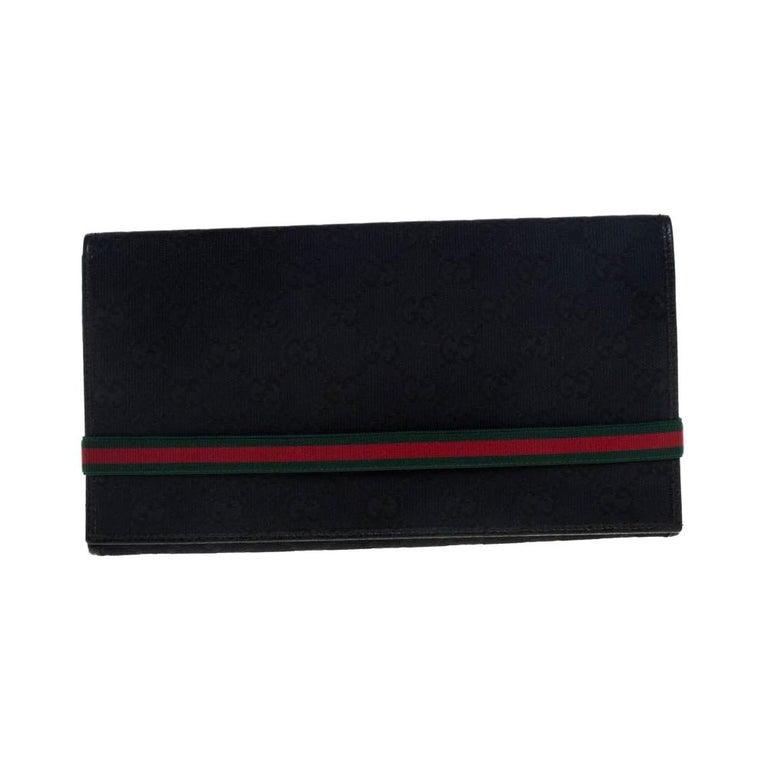 Gucci Black GG Canvas Web Stripe Clutch For Sale