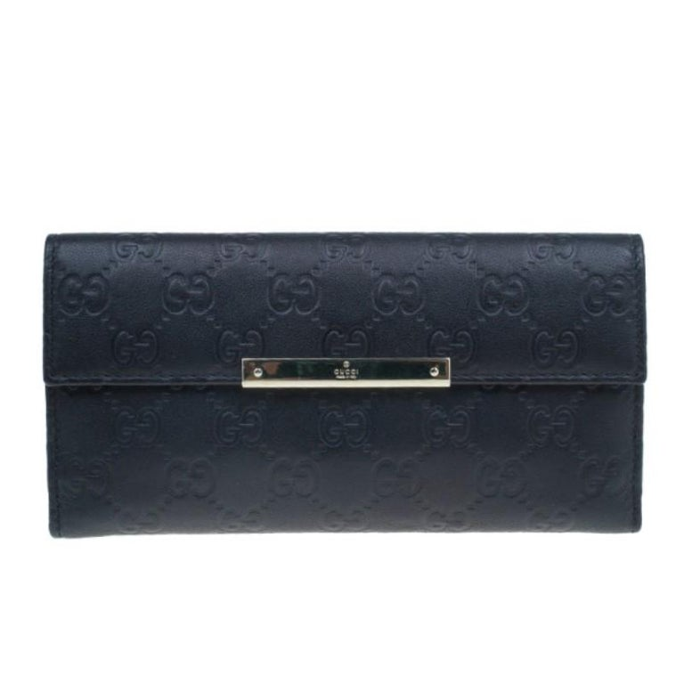 2ce2c9c442b1f Gucci Black GG Guccissima Leather Continental Wallet For Sale at 1stdibs