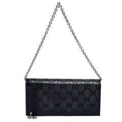 Gucci Black GG Imprime Coated Canvas Wallet on Chain