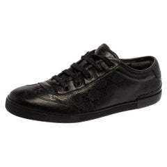 Gucci Black GG Imprime Leather Low Top Sneakers Size 40