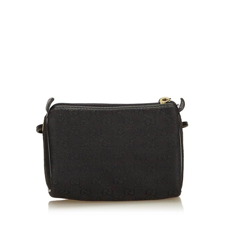 5662c7597fd Gucci Black GG Jacquard Crossbody Bag In Good Condition For Sale In Orlando