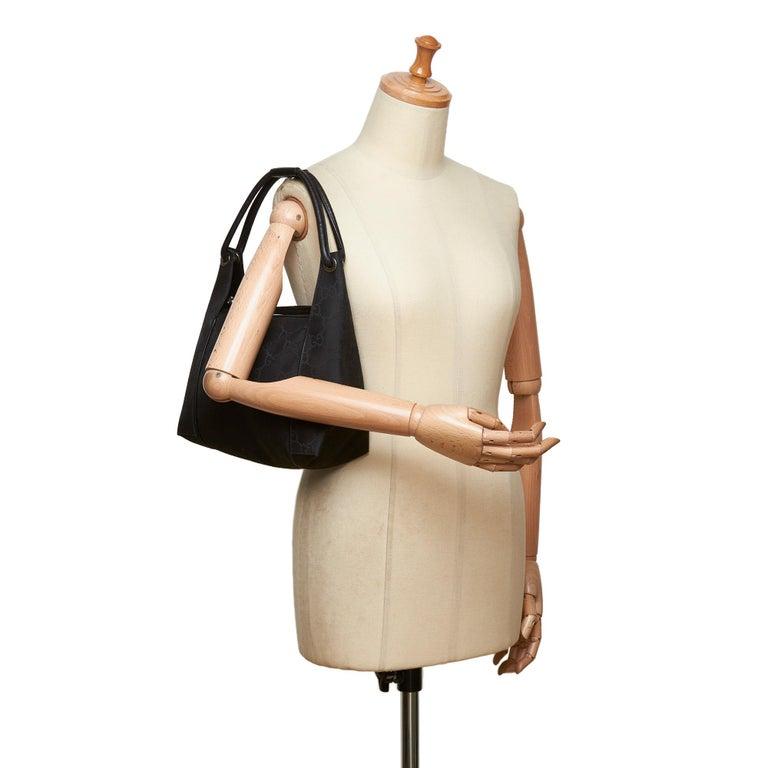 Gucci Black GG Jacquard Handbag For Sale 9