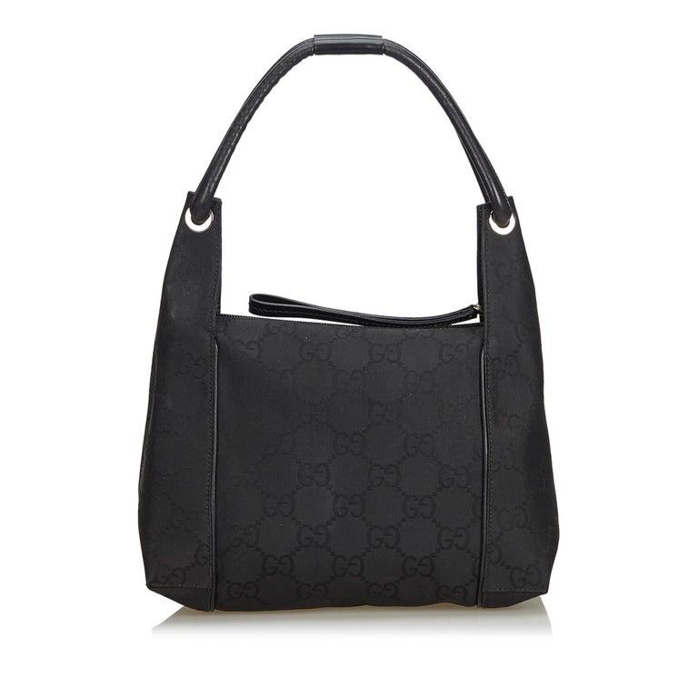 Gucci Black GG Jacquard Handbag In Good Condition For Sale In Orlando, FL