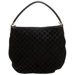 Gucci Black GG Suede and Leather Hobo