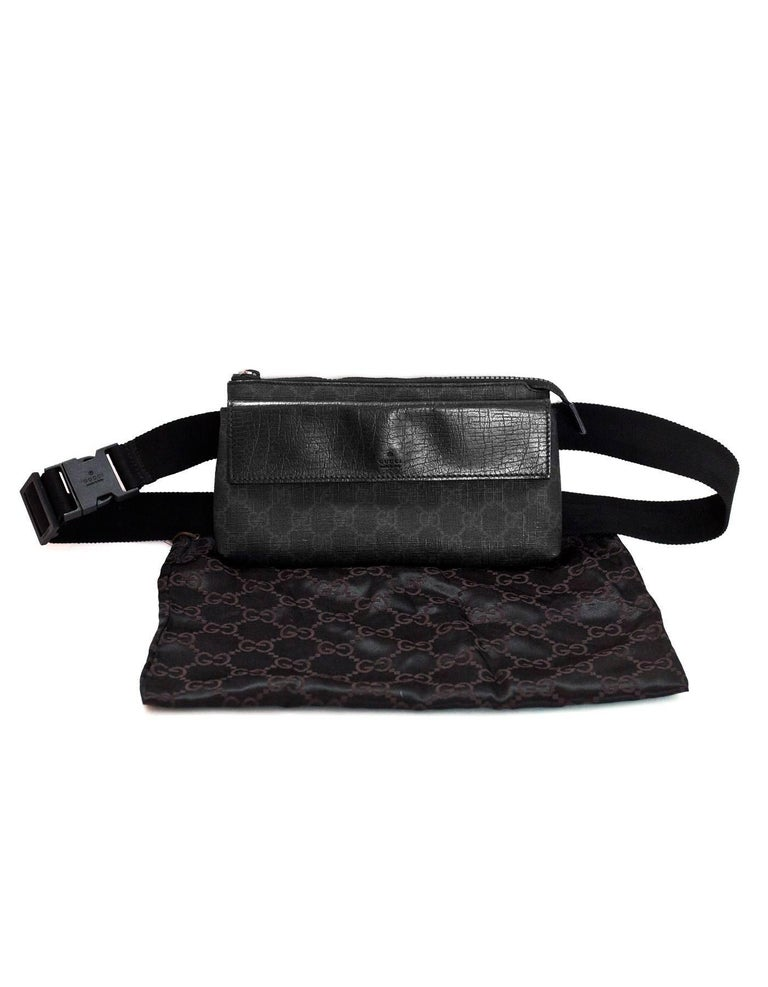 c9407e0a281 Gucci Black GG Supreme Monogram Long Waist Belt Bag Fanny Pack For Sale 6