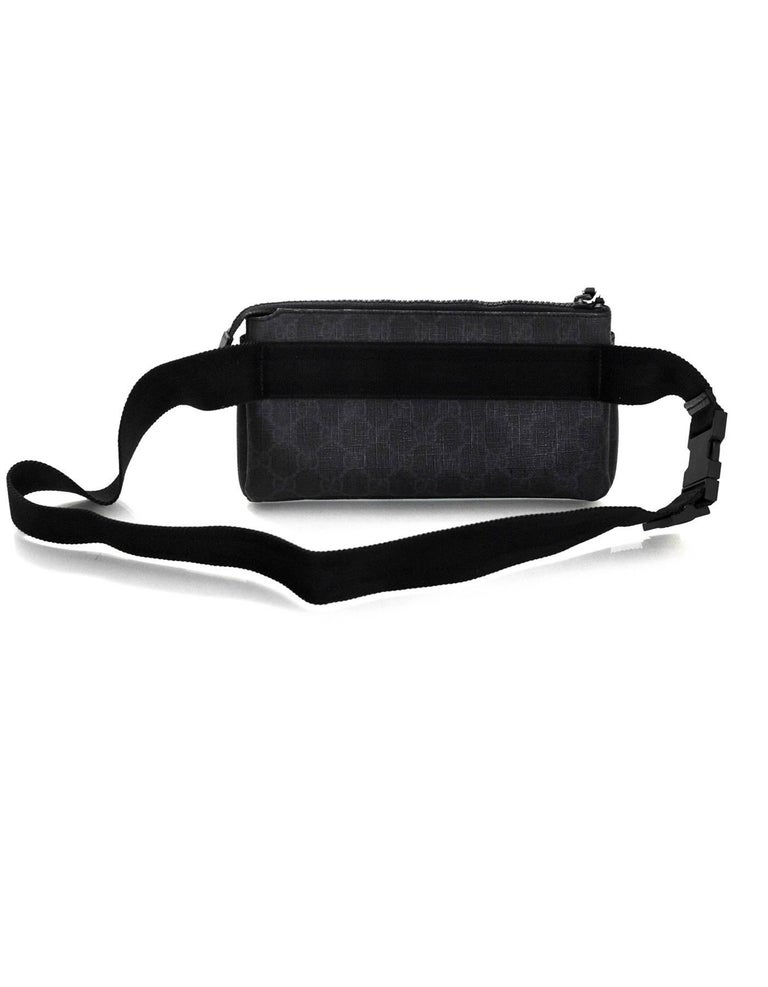 9f8389644f70ae Gucci Black GG Supreme Monogram Long Waist Belt Bag Fanny Pack In Excellent  Condition For Sale