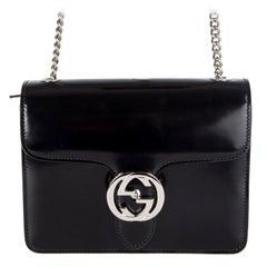 GUCCI black glazed leather INTERLOCKING SMALL Shoulder Bag