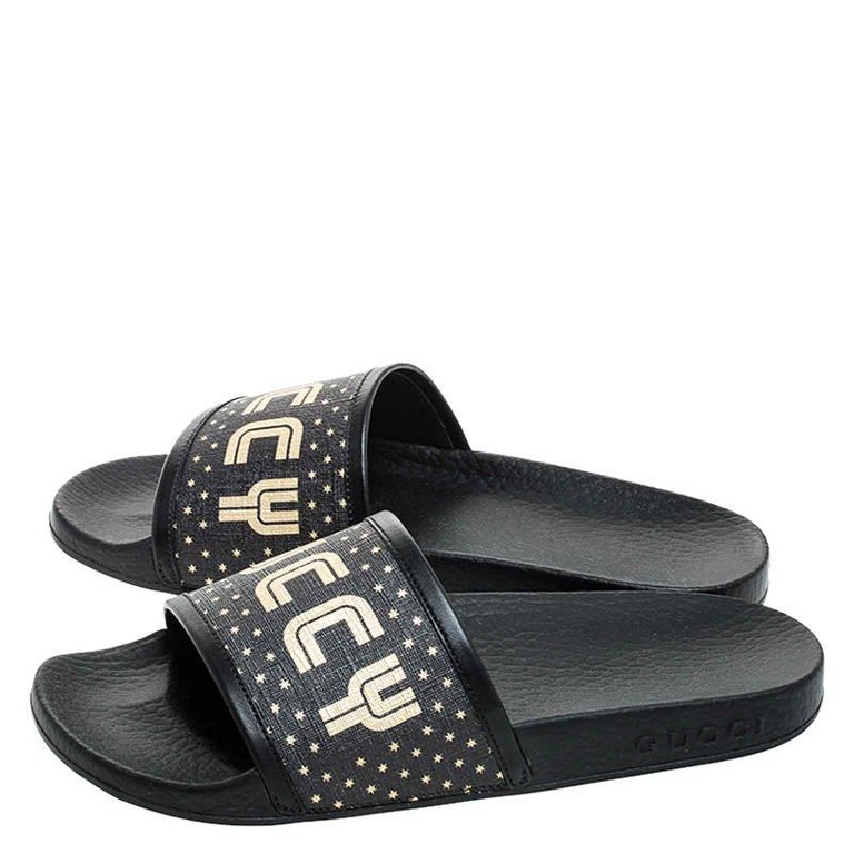 Gucci Black/Gold Coated Canvas Guccy Slip On Slides Size 35 For Sale 2