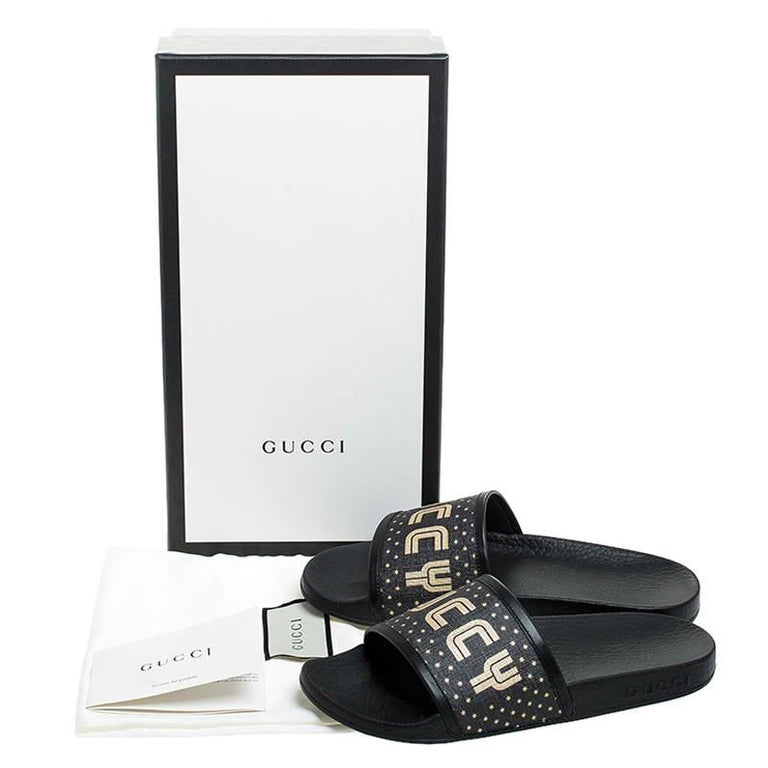 Gucci Black/Gold Coated Canvas Guccy Slip On Slides Size 35 For Sale 4