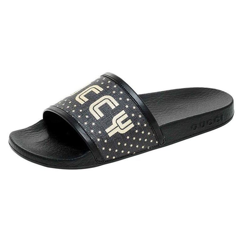 Gucci Black/Gold Coated Canvas Guccy Slip On Slides Size 35 For Sale