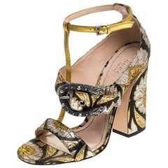 Gucci Black/Gold Floral Brocade Fabric T Strap Dionysus Sandals Size 37