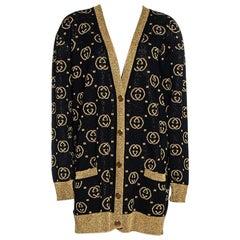 Gucci Black & Gold Lamé GG Supreme Cardigan M
