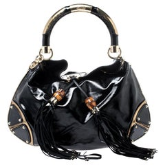 Gucci Black/Gold Patent Leather Medium Indy Hobo