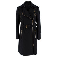 Gucci Black & Gold Wool Belted Trench Coat 40