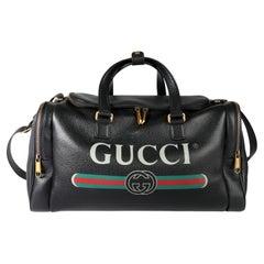 Gucci Black Grained Calfskin Logo Print Duffle Bag