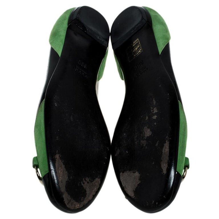 Gucci Black/Green Patent Leather And Suede Bamboo Horsebit Ballet Flats Size 36 For Sale 2