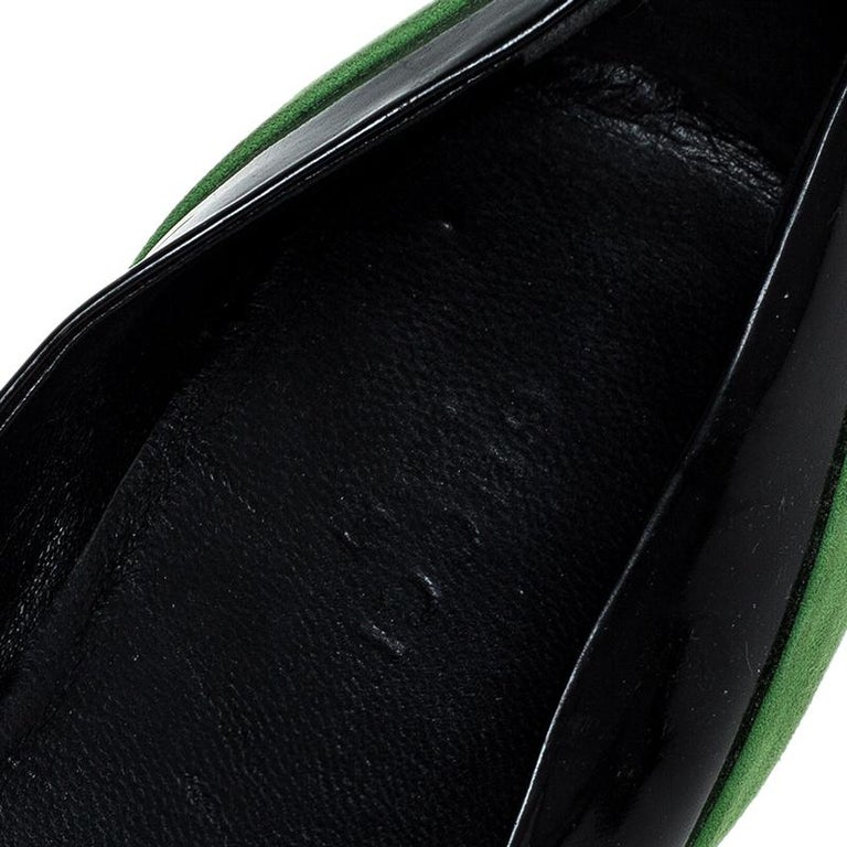 Gucci Black/Green Patent Leather And Suede Bamboo Horsebit Ballet Flats Size 36 For Sale 3