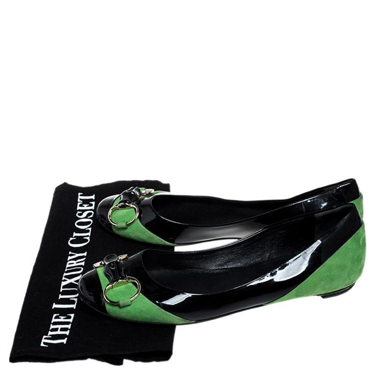 Gucci Black/Green Patent Leather And Suede Bamboo Horsebit Ballet Flats Size 36 For Sale 4