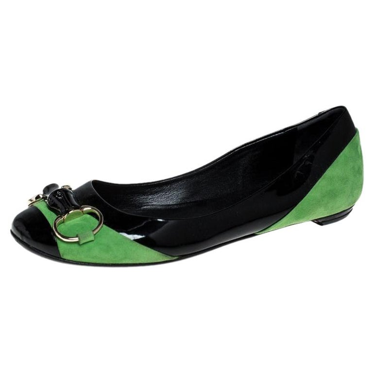 Gucci Black/Green Patent Leather And Suede Bamboo Horsebit Ballet Flats Size 36 For Sale