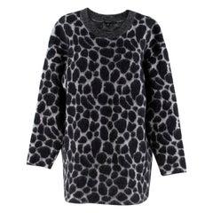 Gucci Black & Grey Leopard Print Mohair Blend Knit Sweater M