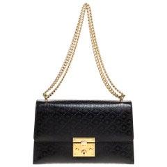 Gucci Black Guccissima Bee Embossed Leather Medium Padlock Shoulder Bag