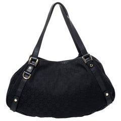 Gucci Black Guccissima Canvas and Leather Medium Abbey Hobo