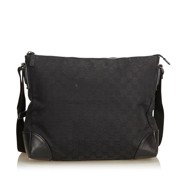 cb0cd6bbf63 Gucci Black Guccissima Canvas Crossbody Bag In Good Condition For Sale In  Orlando