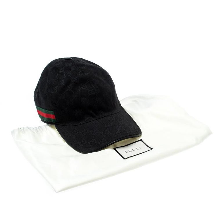 Gucci Black Guccissima Canvas Web Detail Baseball Cap L For Sale 3