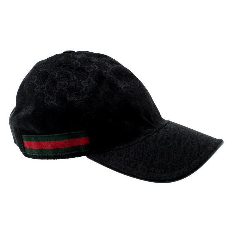 Gucci Black Guccissima Canvas Web Detail Baseball Cap L For Sale
