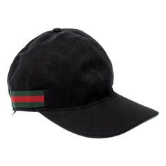 Gucci Black Guccissima Canvas Web Detail Baseball Cap L