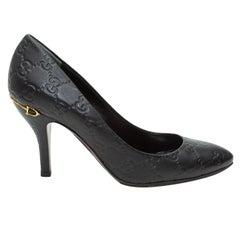 Gucci Black Guccissima Horsebit-Accented Heels