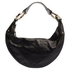 Gucci Black Guccissima Leather Bamboo Ring Hobo