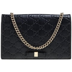 Gucci Black Guccissima Leather Bow Flap Wallet on Chain