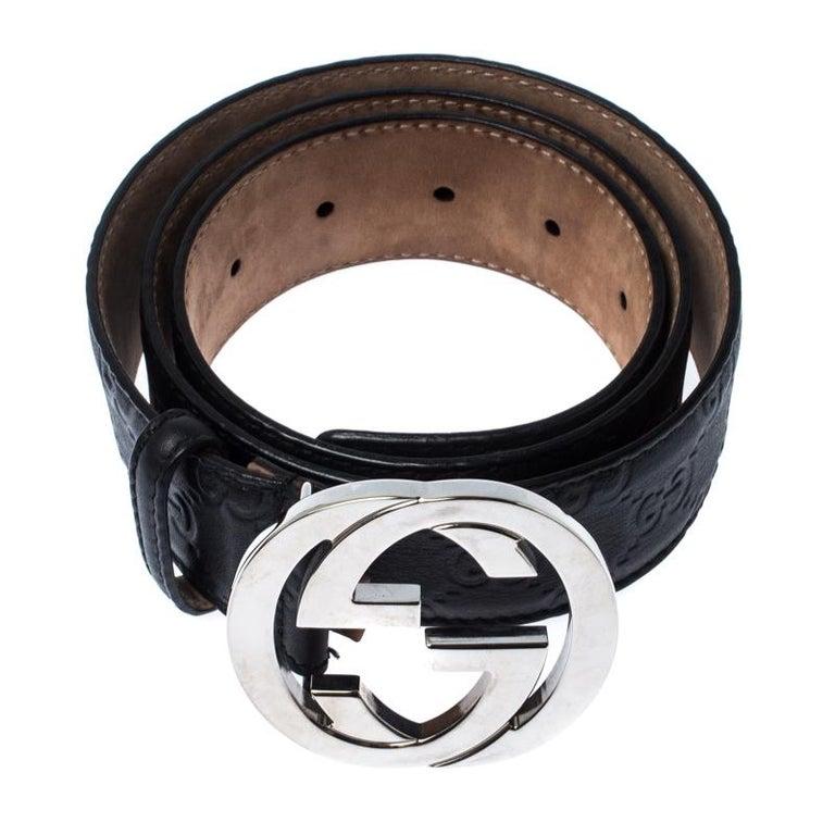 Gucci Black Guccissima Leather Interlocking G Belt 85CM In Good Condition For Sale In Dubai, Al Qouz 2