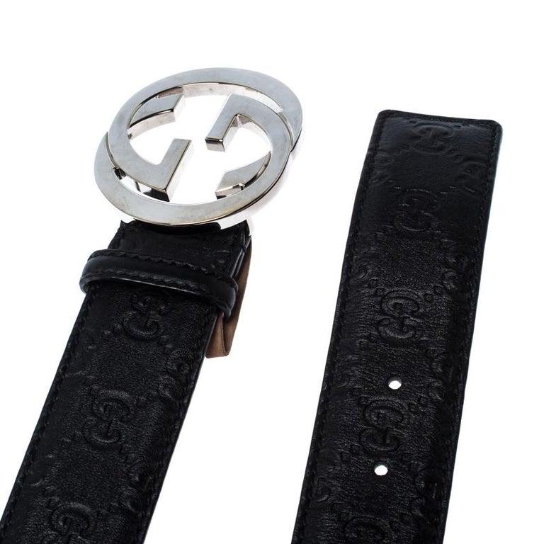 Men's Gucci Black Guccissima Leather Interlocking G Belt 85CM For Sale